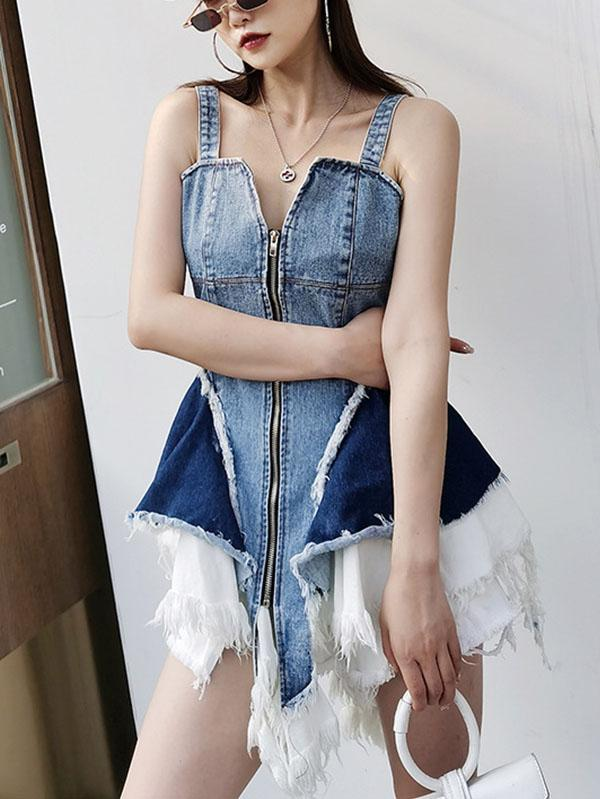 Personalized Waist Denim Dress