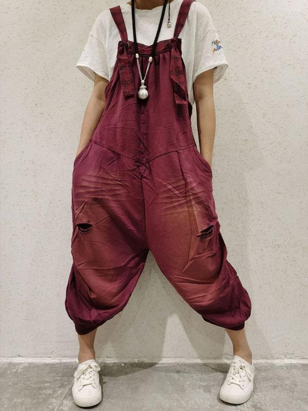 Hole Mixed Color Stitching Cropped Casual Bib Pants