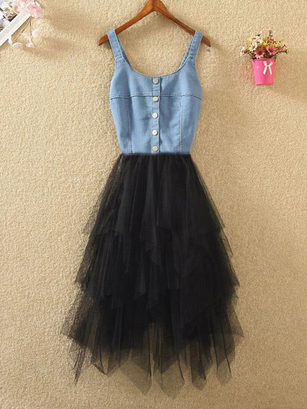 Denim Strap Stitching Irregular Mesh Dress