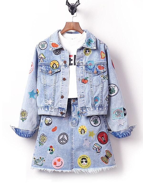 Plus Size Badge Patch Light Blue Denim Suit