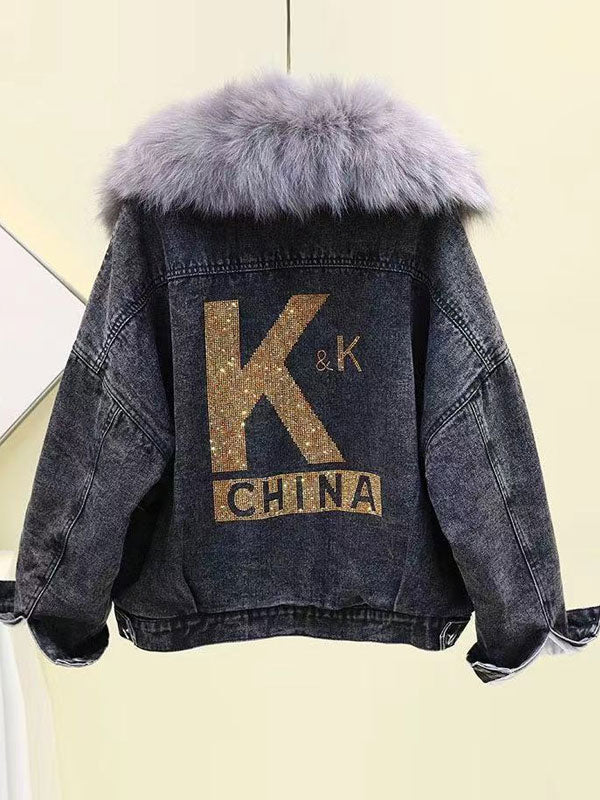Rhinestone and Velvet Thickening Fur Denim Coat