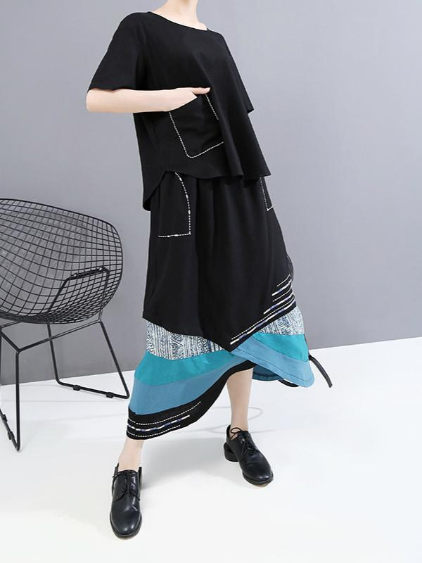Casual Style Short Sleeves T-shirt & Patchwork Skirt