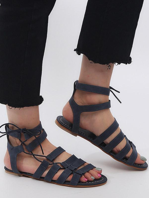 Flat-bottomed Plus Size Roman Sandals