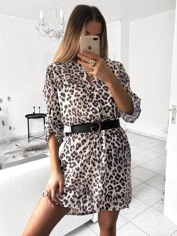 Fashion Long Sleeves Shirt Mini Dress