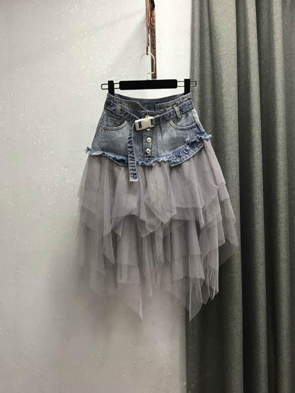 Black Mesh High Waist Denim Skirt