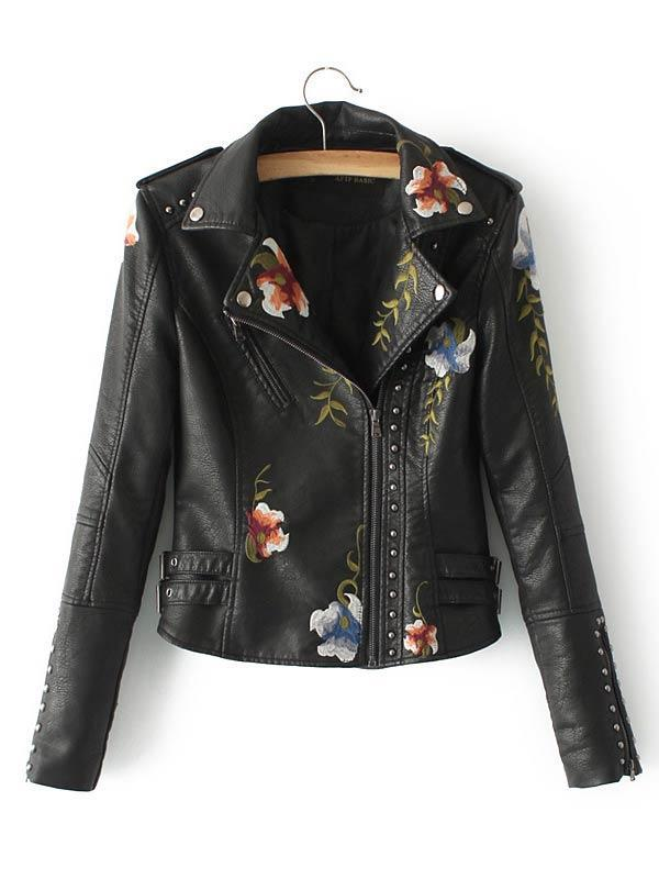 Flower Embroidery Rivet PU Leather Jacket