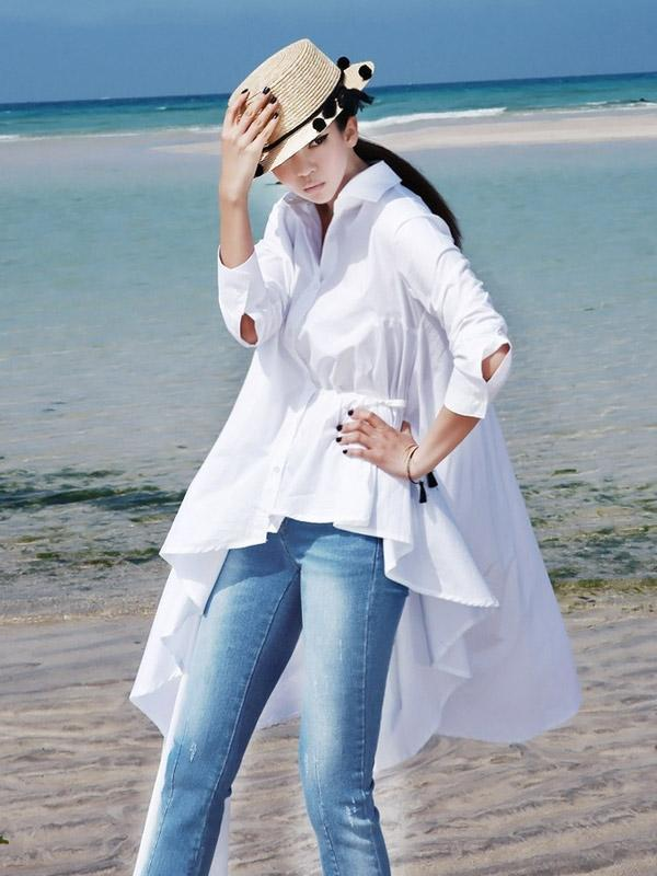Chic Irregular Pure Color Long Shirt