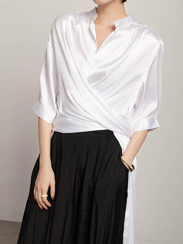Loose Split-Side Urban Long White Shirts