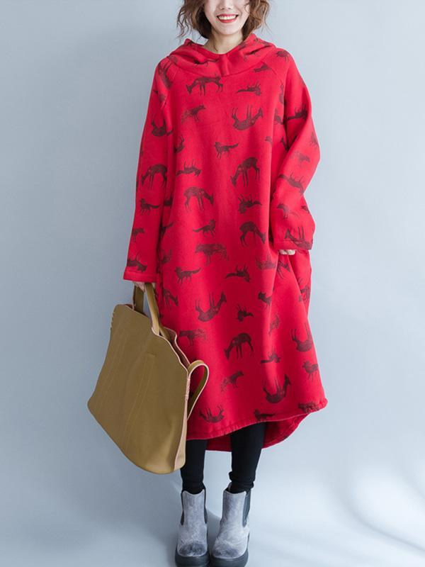 Super Casual Printed Long Hoodie Dress