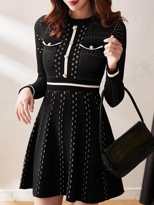 Hollow Black Thin Knitted Midi Dress