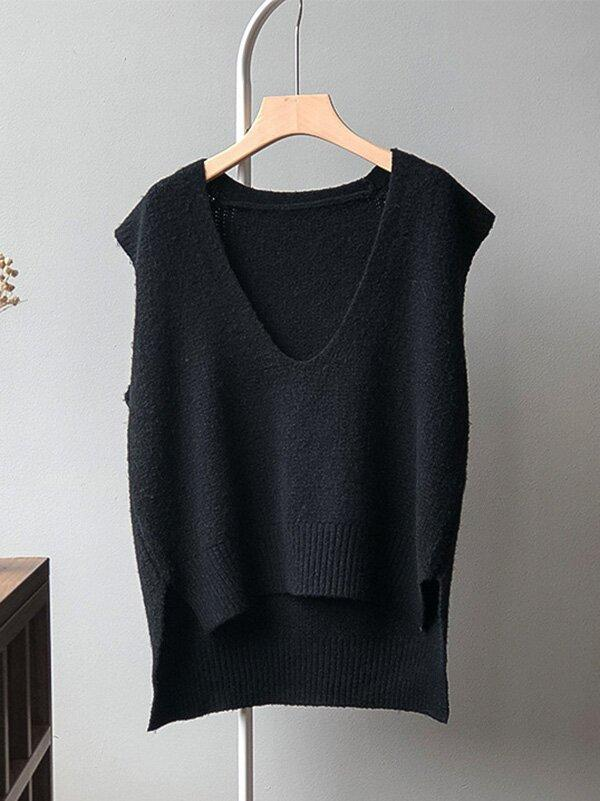 Knitting Irregularity Solid V-Neck Vest
