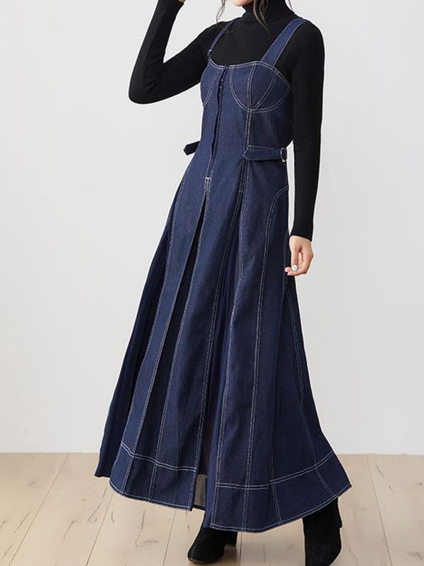 Japanese high waist and slim casual strap skirt