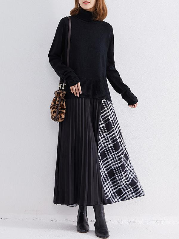 Fashion Stitching Fake Two Pieces Knitted Skirt