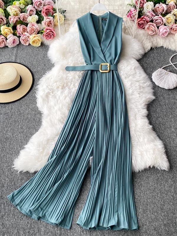 French retro waist professional ol suit collar Jumpsuit