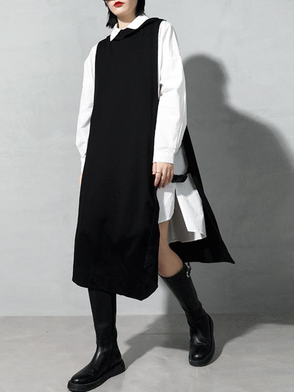 Pullover Black Waistcoat with Irregular Edge