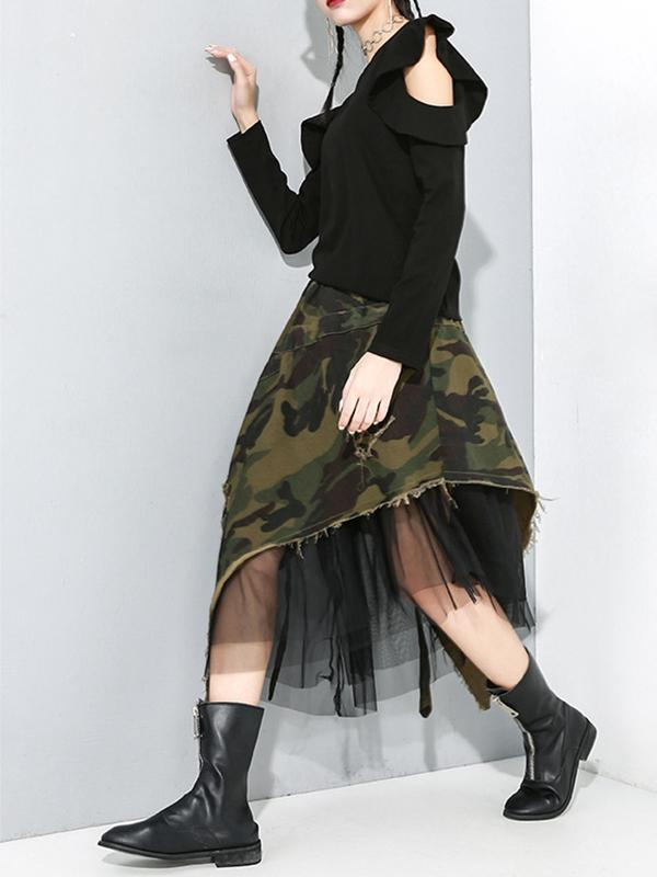 Camouflage Mesh Irregular Denim Skirt