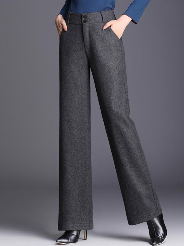 Winter High-Waist Woolen Wide-leg Casual Pants