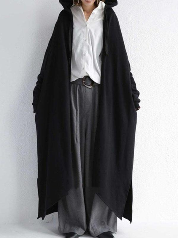 Black&Gray Split-Side High-Low Zipper Hooded Long Outerwear