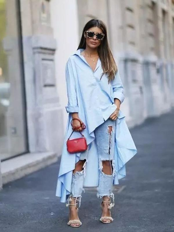 Light Blue Lapel High-Low Ruffled Blouse Dress