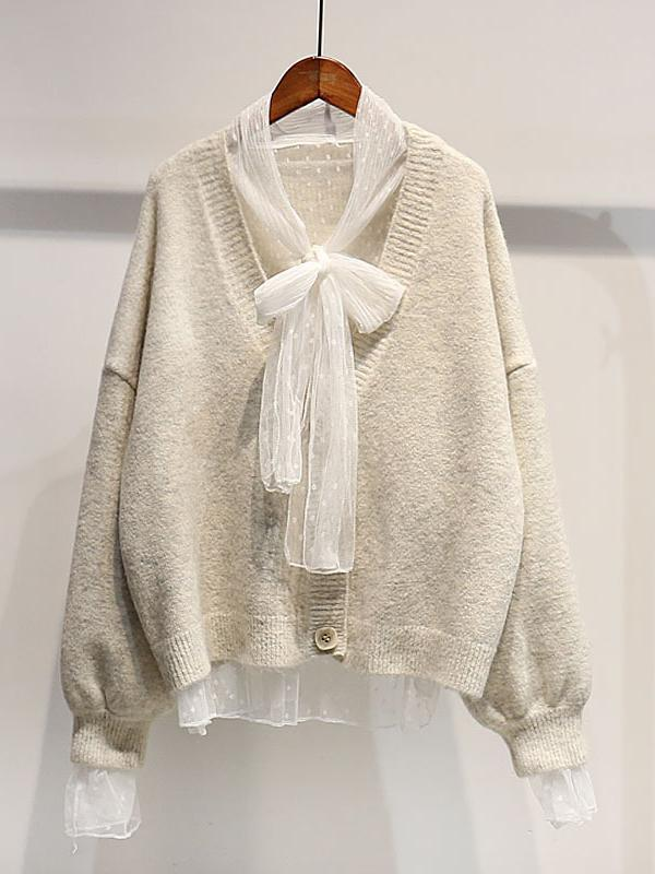 Short Knit Cardigan with Bow