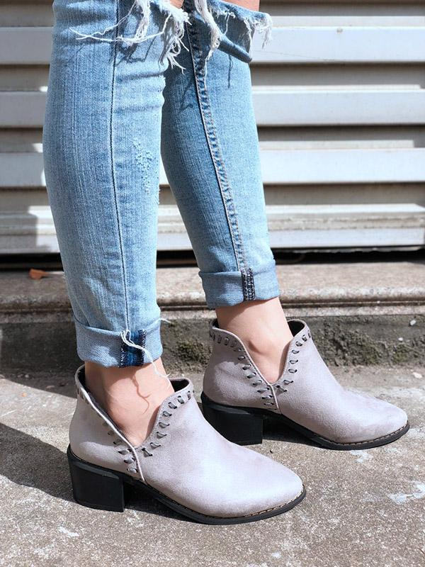 Sharp Head Deep V-shaped Chunky Heels Boots