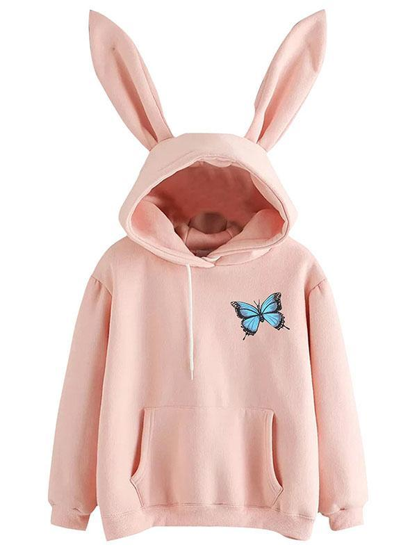 Cute Butterfly Sweatshirt with Bunny Ears
