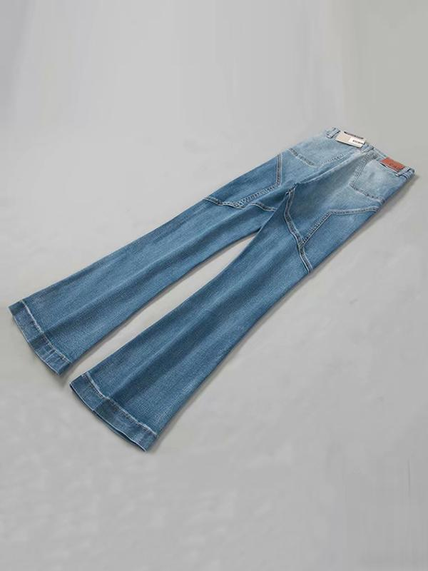 Pentagram Split-joint High Waist Elastic  Flared Jeans