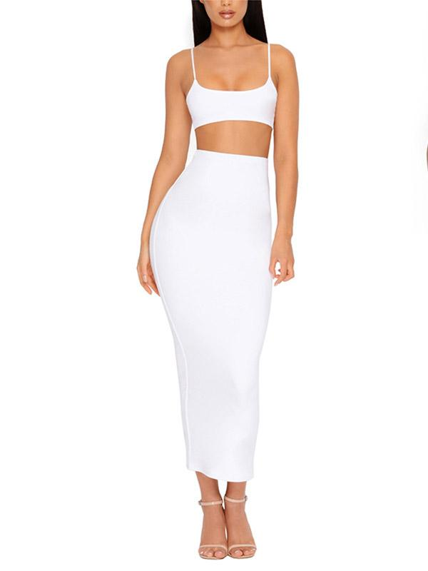 Sexy Crop Tops And Long Skirt Suits Bodycon Dress