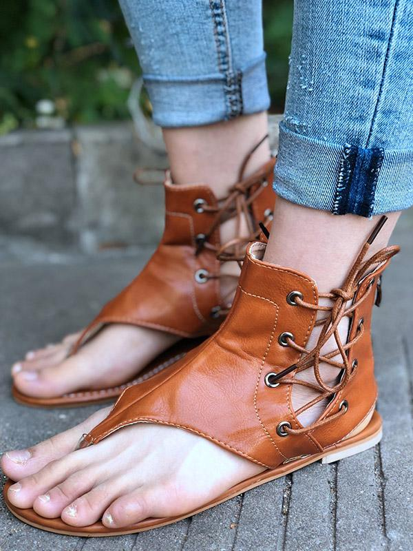 Plus Size Flat Bottom Zipper Lace-Up Sandals