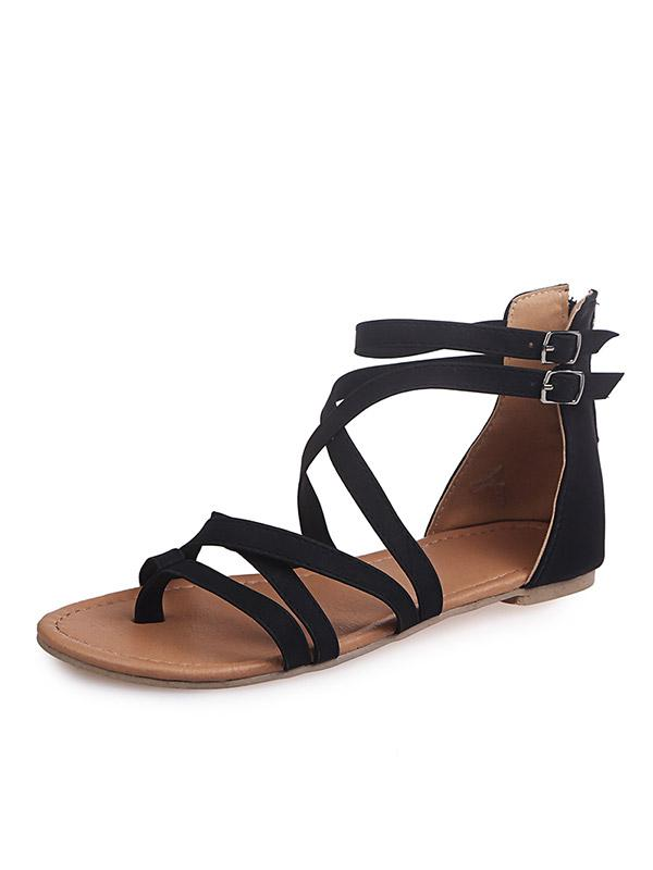 Toe-clip Flat Bottom Ribbon Roman Sandals