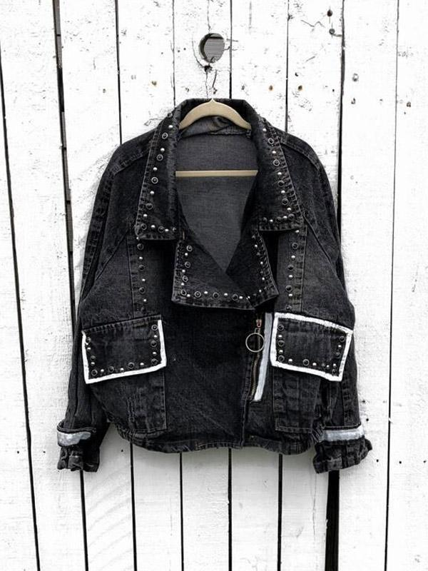 Black Printed Beaded Bat Sleeve Denim Jacket