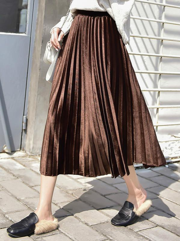 Velvet High Waist Pleated Skirts