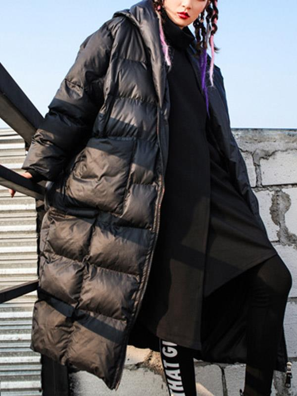 Down Coat Outwear with Solid Hoodie Zipper