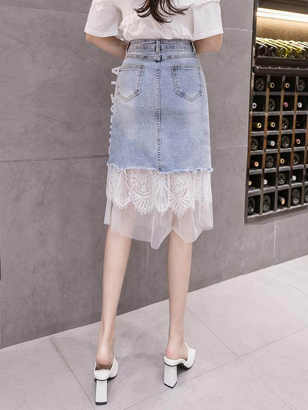 Stitching Mesh 3D Flower Embroidery Beaded Denim Skirt