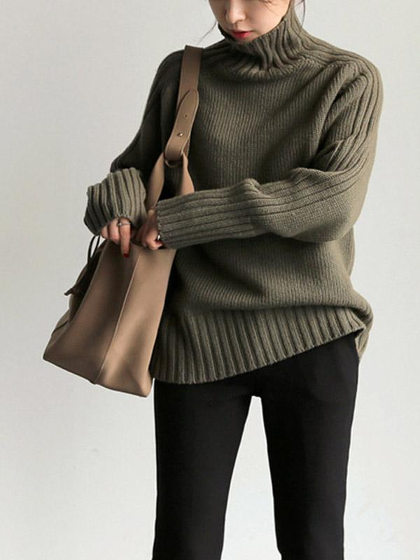 Sweater with Simple High Collar