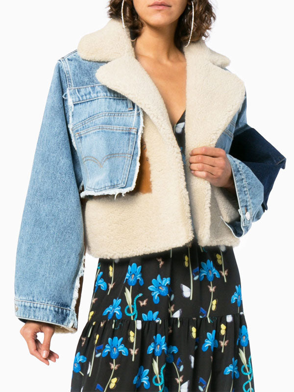 Suede Denim Stitching Lamb Thick Jacket