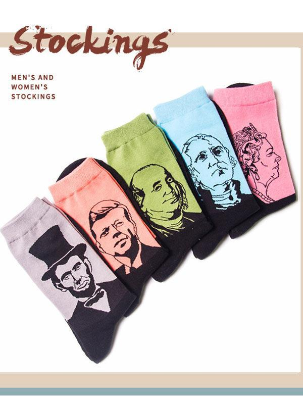 Colorful Portrait Oil Painting Socks