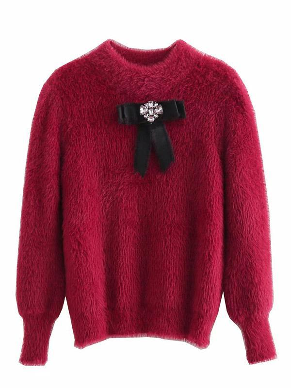Bowknot Sweater Knitted Tops