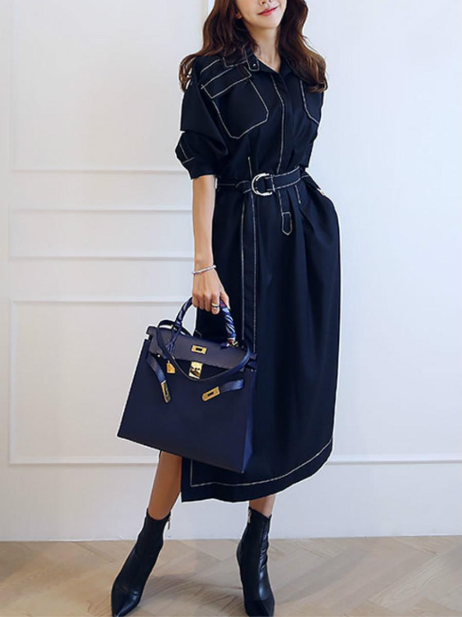 Long Lapel Patchwork Long Sleeves Belt Women's Dress