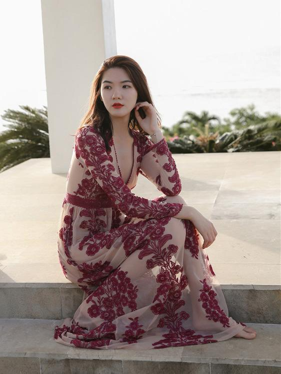 See-through Jacquard Beach Maxi Dresses