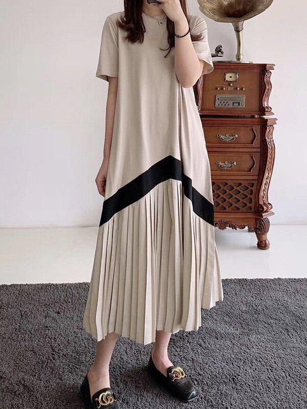 Original Pleated Splicing Loose Short Sleeve Round-Neck Dress