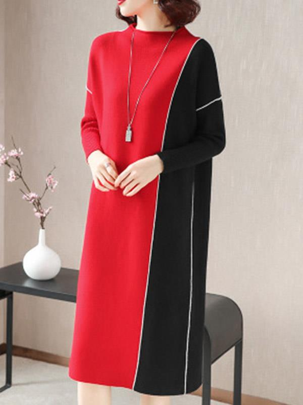 Midi Dress with Knitting Sweater Patchwork Contrast