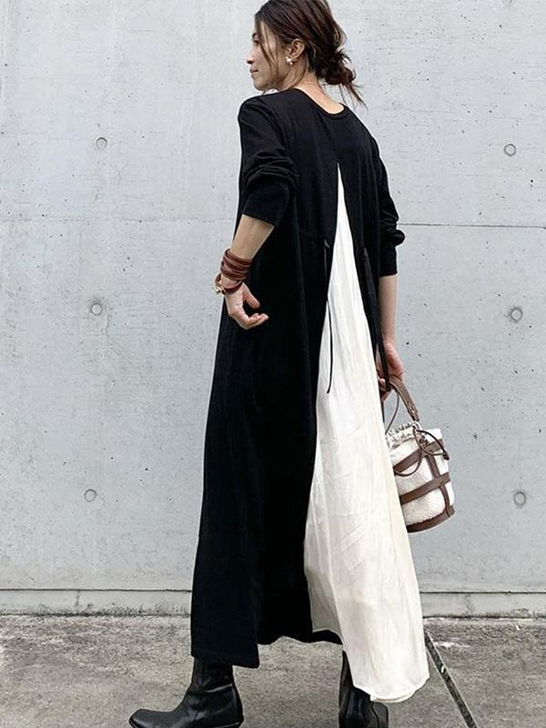 Japanese Style Round Neck Back Patchwork A-Linea Loose Dress