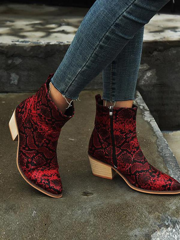 Casual Boots with Snake Skin Pattern Printed Chunky Heel