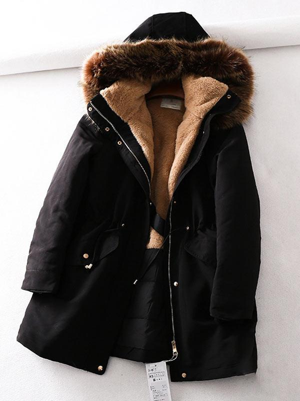Thickened Fur Collar Hooded Drawstring Waist Warm Jacket