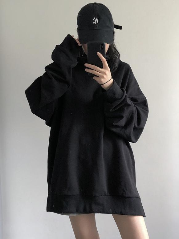 Loose Cool Girl Black Hoodie