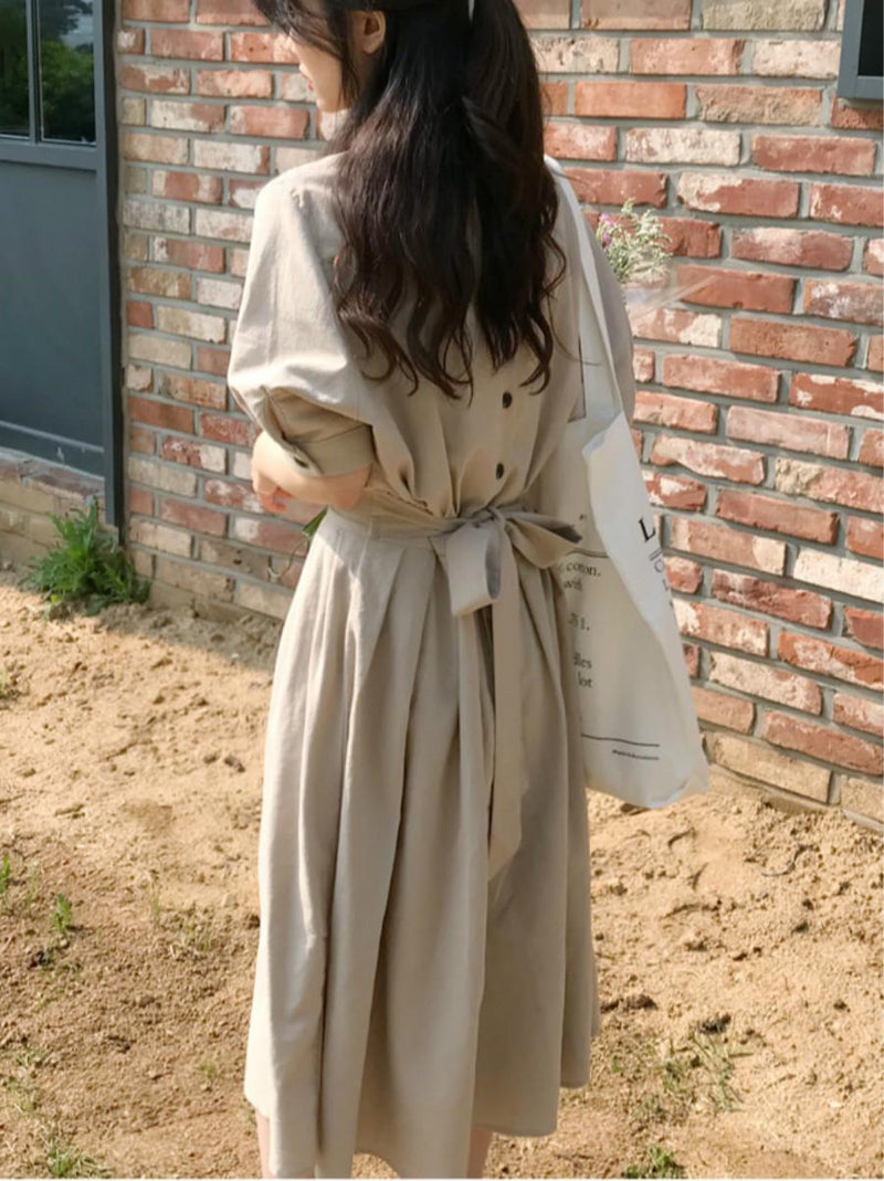 Half Sleeves Round Neck Buttons Belt Long A-Line Women's Maxi Dress