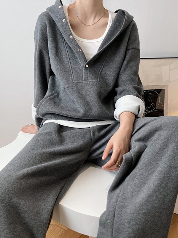 Loose Hoodies And Wide-Leg Pants Suits