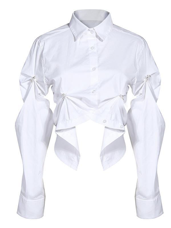 Three-dimensional Pleated Short Cotton White Shirt