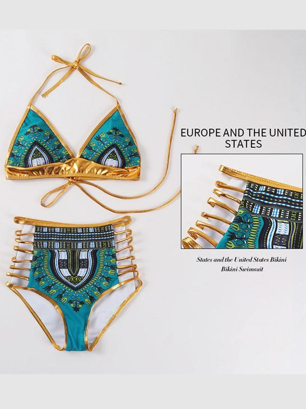 Printed Bronzing Lace-up Bikini